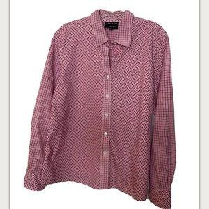 Foxcroft Pink Plaid Wrinkle Free Button Shirt 14